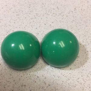 Vintage Dome Green Clip Earrings